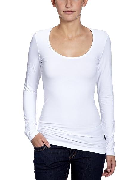 ONLY -Camiseta de manga larga Mujer, Blanco, 34 (XS)