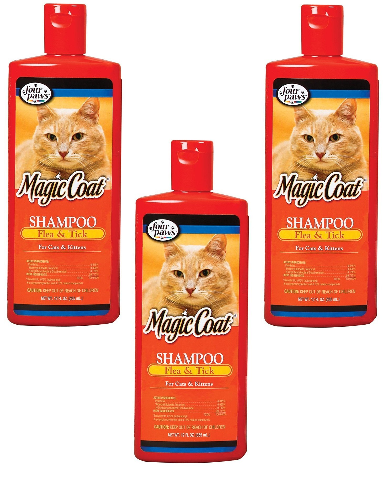 (3 Pack) Four-Paws Magic Coat Flea and Tick Cat Grooming Shampoos, 12 Ounce Each