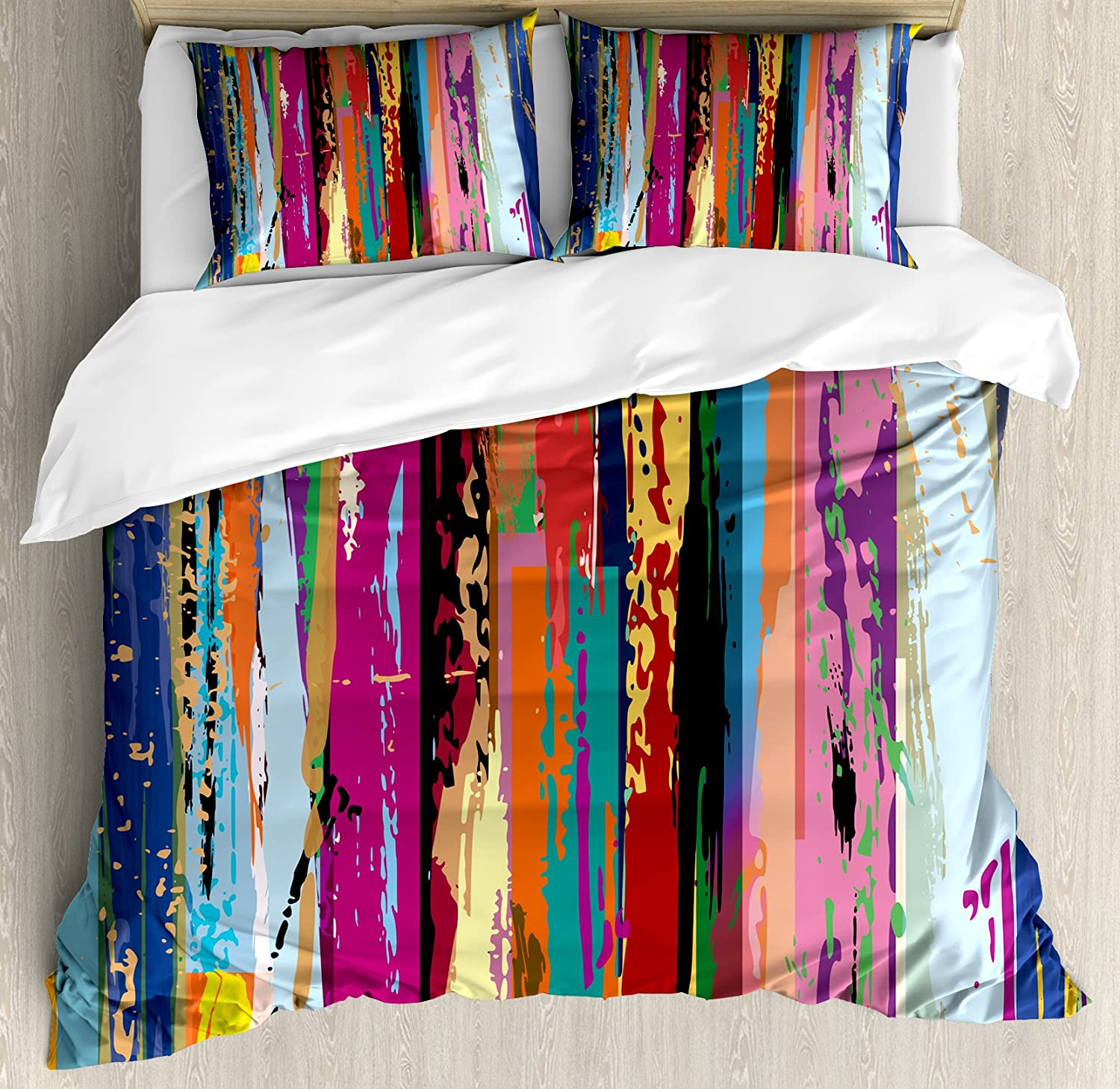 Art Vibrant Rainbow Design Tainted Pattern, Decorative 3 Piece Bedding Set