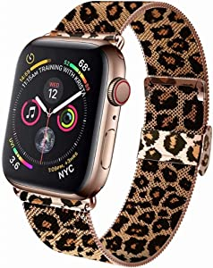 GBPOOT Band Compatible with Watch Band 38mm 40mm 42mm 44mm, Wristband Loop Replacement Band for Iwatch Series 6/SE/5/4/3/2/1,Leopard ,38mm/40mm