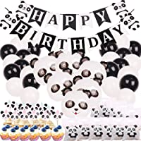 Panda Party Decorations Supplies Happy Birthday Banner Mylar Balloons Panda CakeToppers and Gift Bags for Panda Bear Baby Shower Decorations