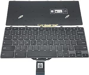 KB US Layout Laptop Keyboard for Dell Chromebook 3100 5190 Laptop Without Backlight TPN-136US001909 AE09U018 NSK-EJ1SW Black keycap Gray Frame Without Backlight 3100
