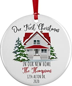 "Our First Christmas, Personalized New Home Christmas Ornament w/ Your Address, Last Name, Date, Custom 3"" Ceramic, Round 2020 Xmas Ornament, First Christmas Decoration Gift for Couples, Family D#2"