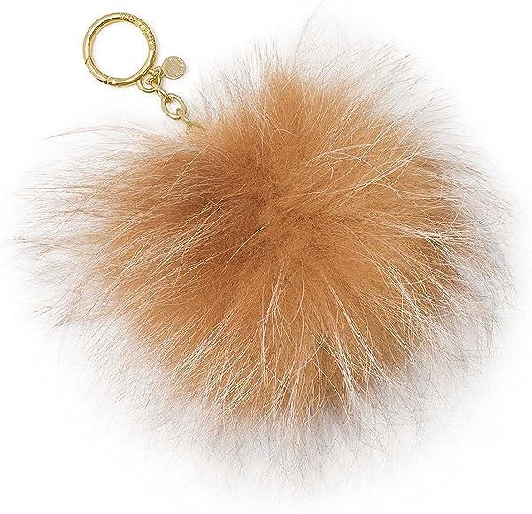 MICHAEL Michael Kors Womens Fox Fur Pom Fashion Keychain Tan O/S