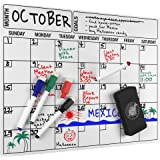 Magnetic Dry Erase Calendar, Monthly Refrigerator Calendar, 4 Colored Magnetic Markers 1 Magnetic Eraser