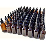 Dropper Stop 2oz Amber Glass Dropper Bottles (60mL) with Tapered Glass Droppers - Pack of 80
