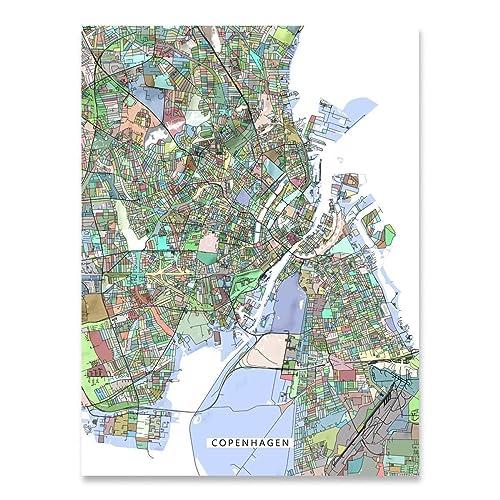 Amazon.com: Copenhagen Map Print, Denmark, Europe City Art ...