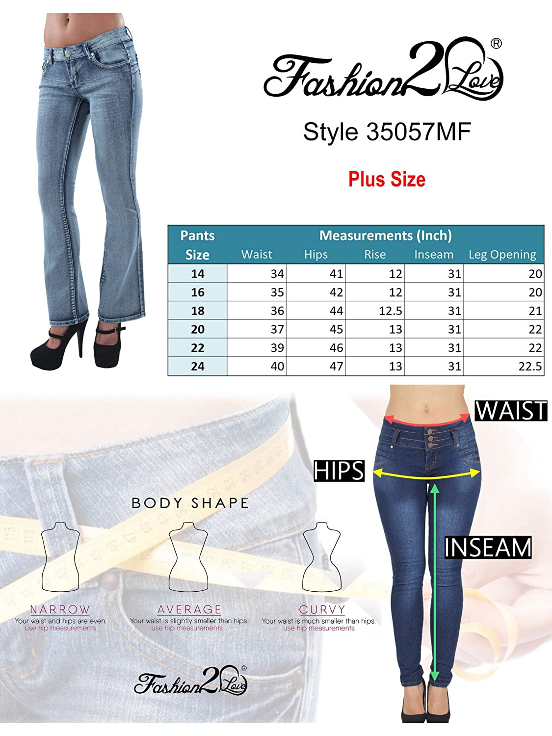 Amazon.com: Fashion2Love Plus Size, Levanta Cola, Pantalones ...