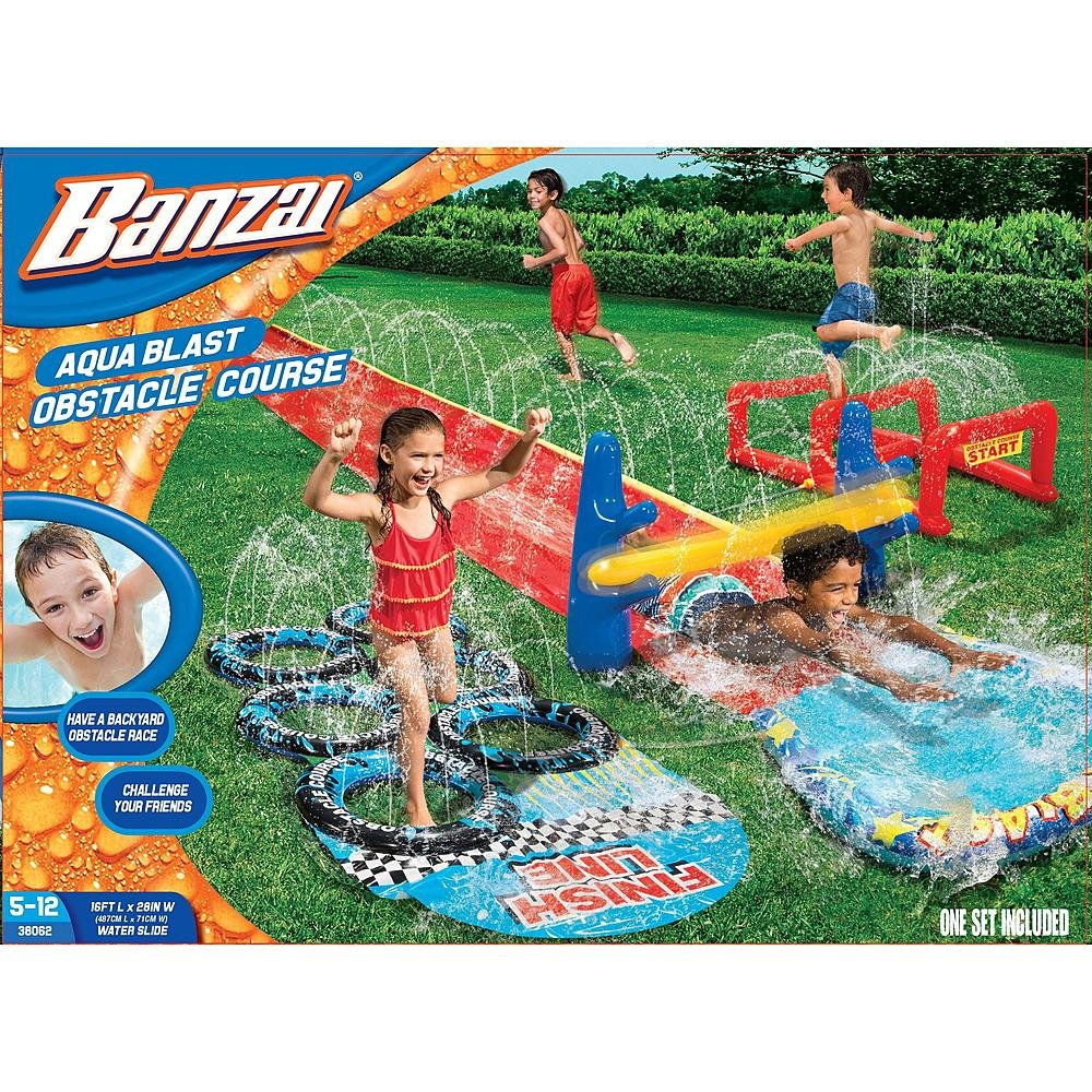 amazon com banzai aqua blast obstacle course by banzi toys u0026 games