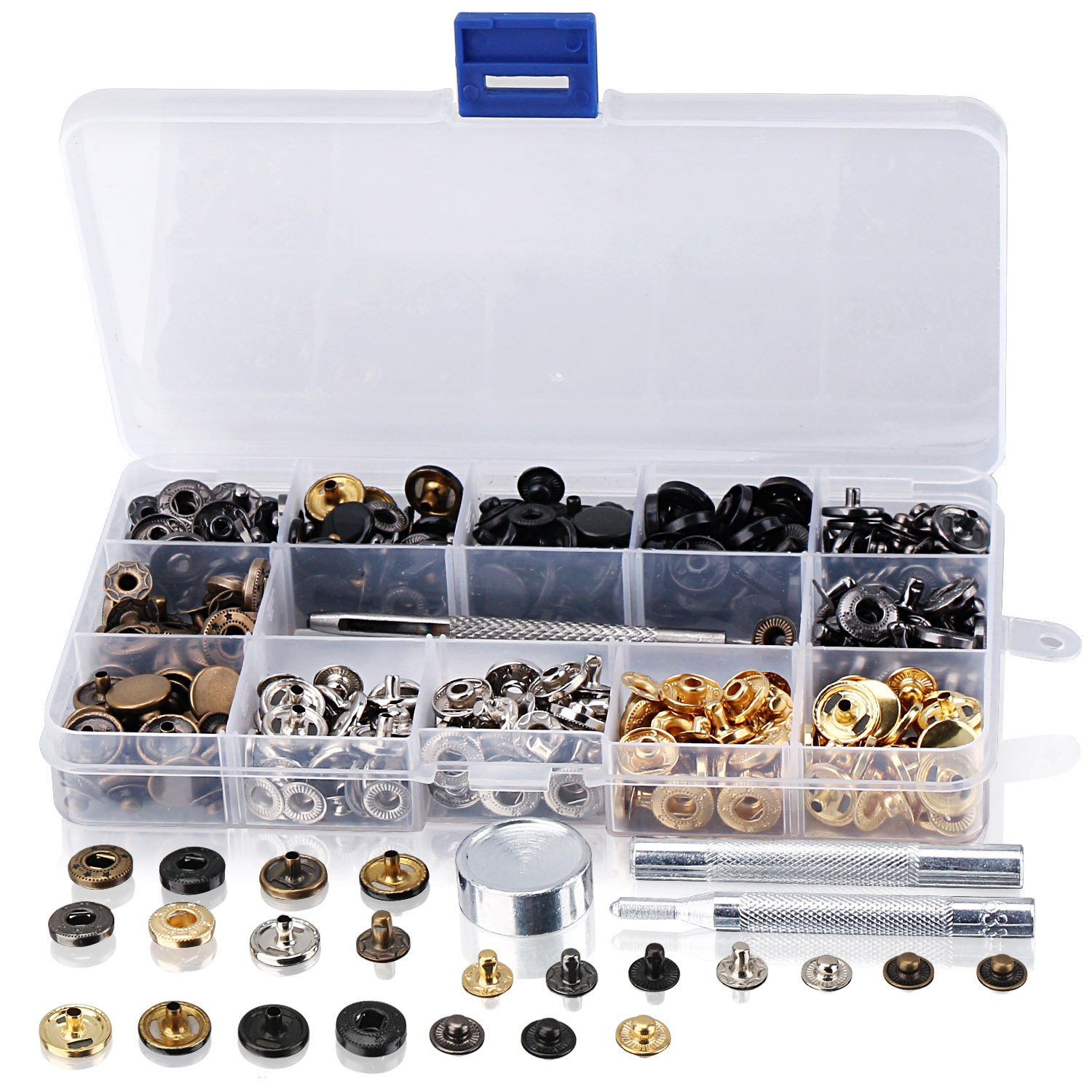 DROK 120 Sets Copper Snap Buttons, 6 Colors Snap Fastener Kit, Leather Craft Clothing Fabric Snap Rivets Press Studs, 633# 12mm-in-Diameter Rivet Setter with Punch Fixing Tool for DIY