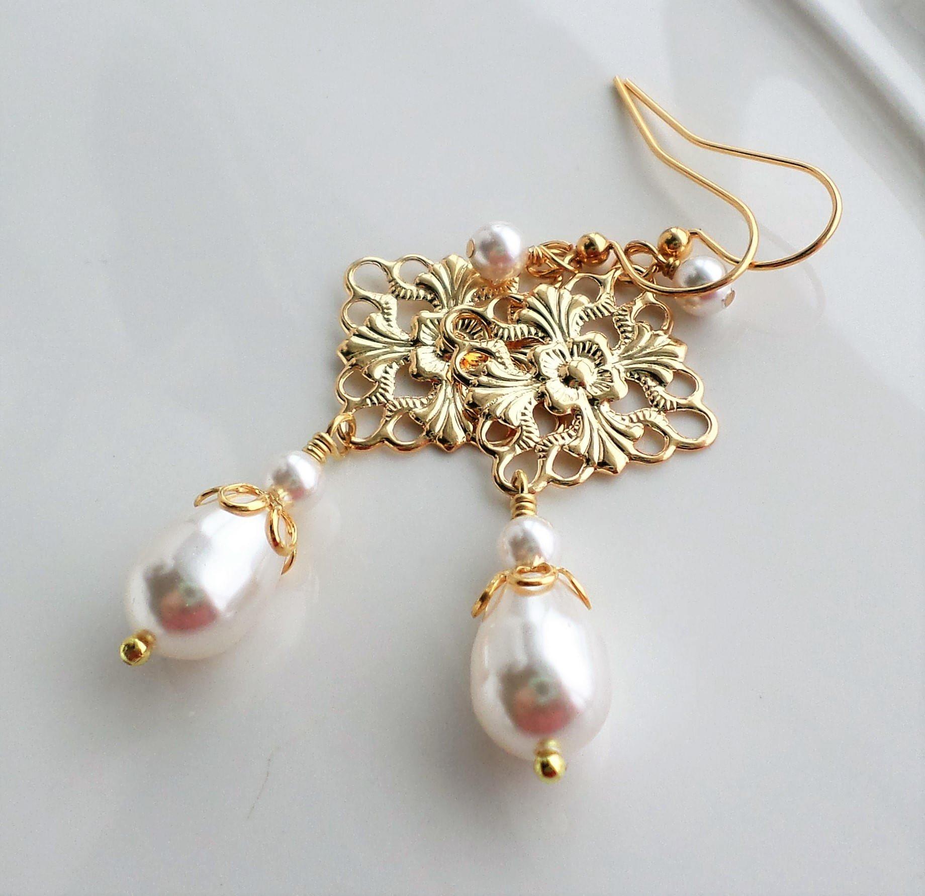 White Swarovski Pearl Gold Filigree Chandelier Earrings