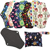 Reusable Sanitary Towels Pads(7 in 1, 25.4cm), Phogary Antibacterial Bamboo Panty Liners with Wet Bag, Heavy Flow Night Washable Cloth Menstrual Sanitary Towels