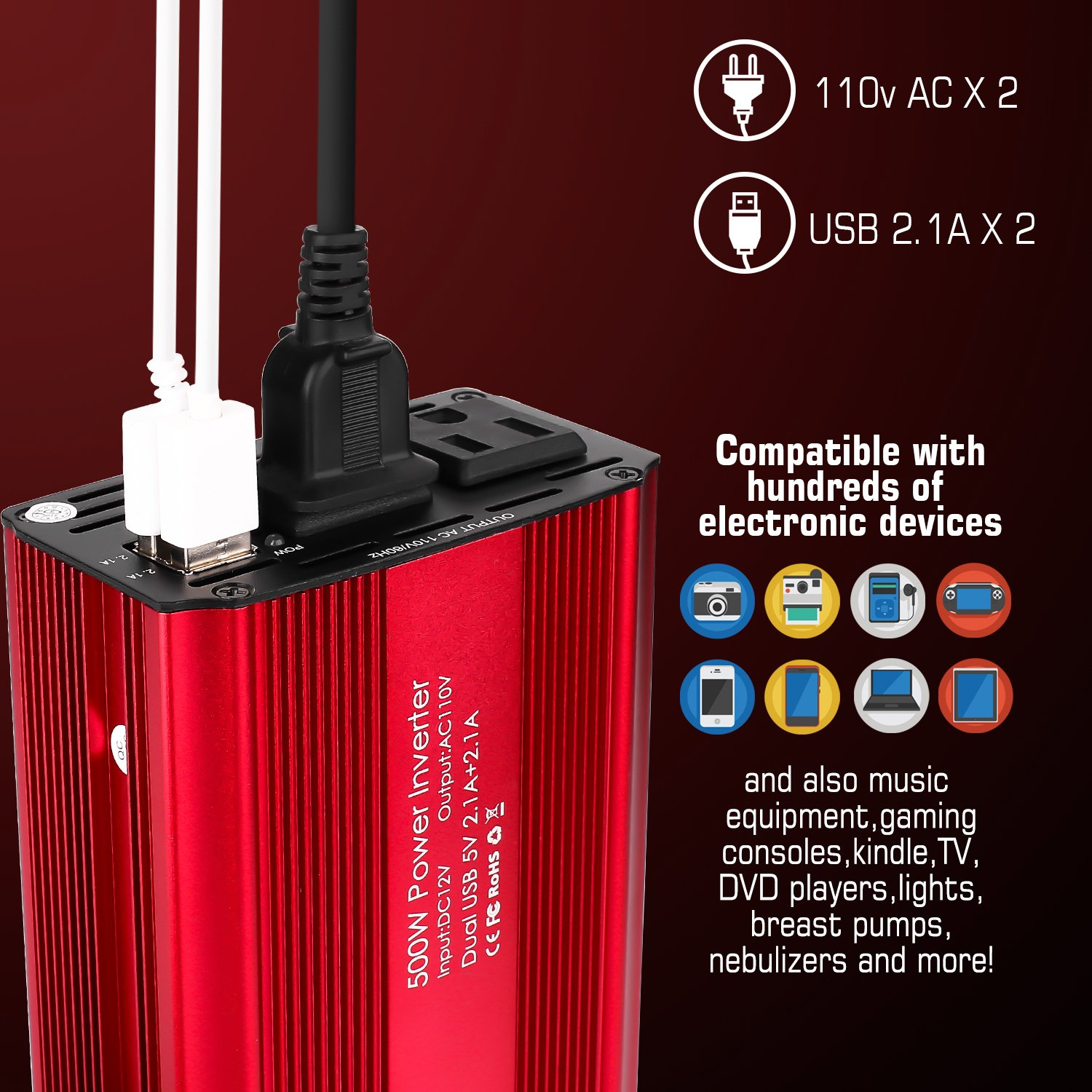 Bapdas 500W Power Inverter Converter DC 12V to AC 110V Car Charger with 4.2A 2 USB Ports Car Power Adapter-Red by Bapdas (Image #2)