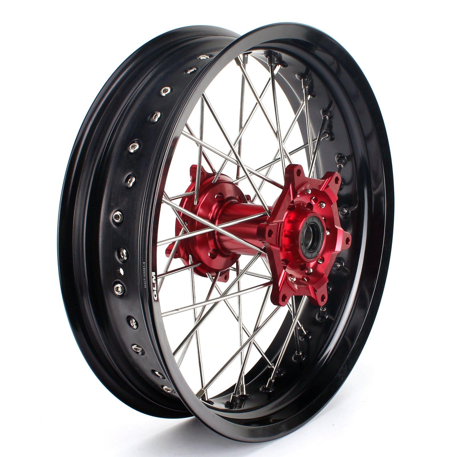 TARAZON 17 Supermoto Supermotard Rear Complete Wheel Kit Red Hub Rim Spokes for Honda CR125R CR250R CRF250R CRF450R 2004-2012 CRF450X CRF250X 2004-2016