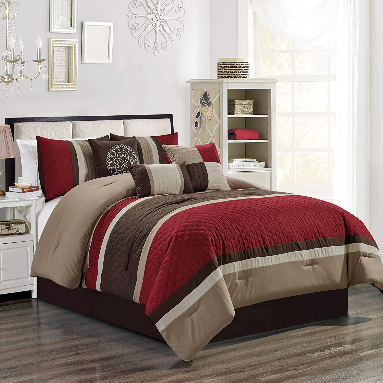"Design Striped Pleated Bedding Comforter Set (90""x 92"" Queen, Burgundy Red)"