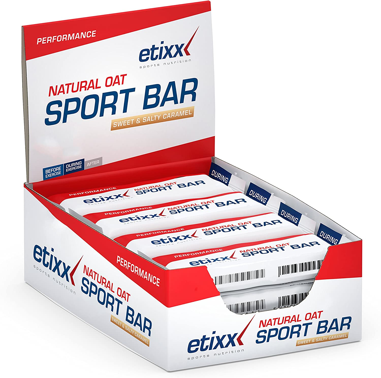 Etixx Natural Oat Sport Bar Sweet & Salty Caramel, Sabor a Caramelo - 12 barritas