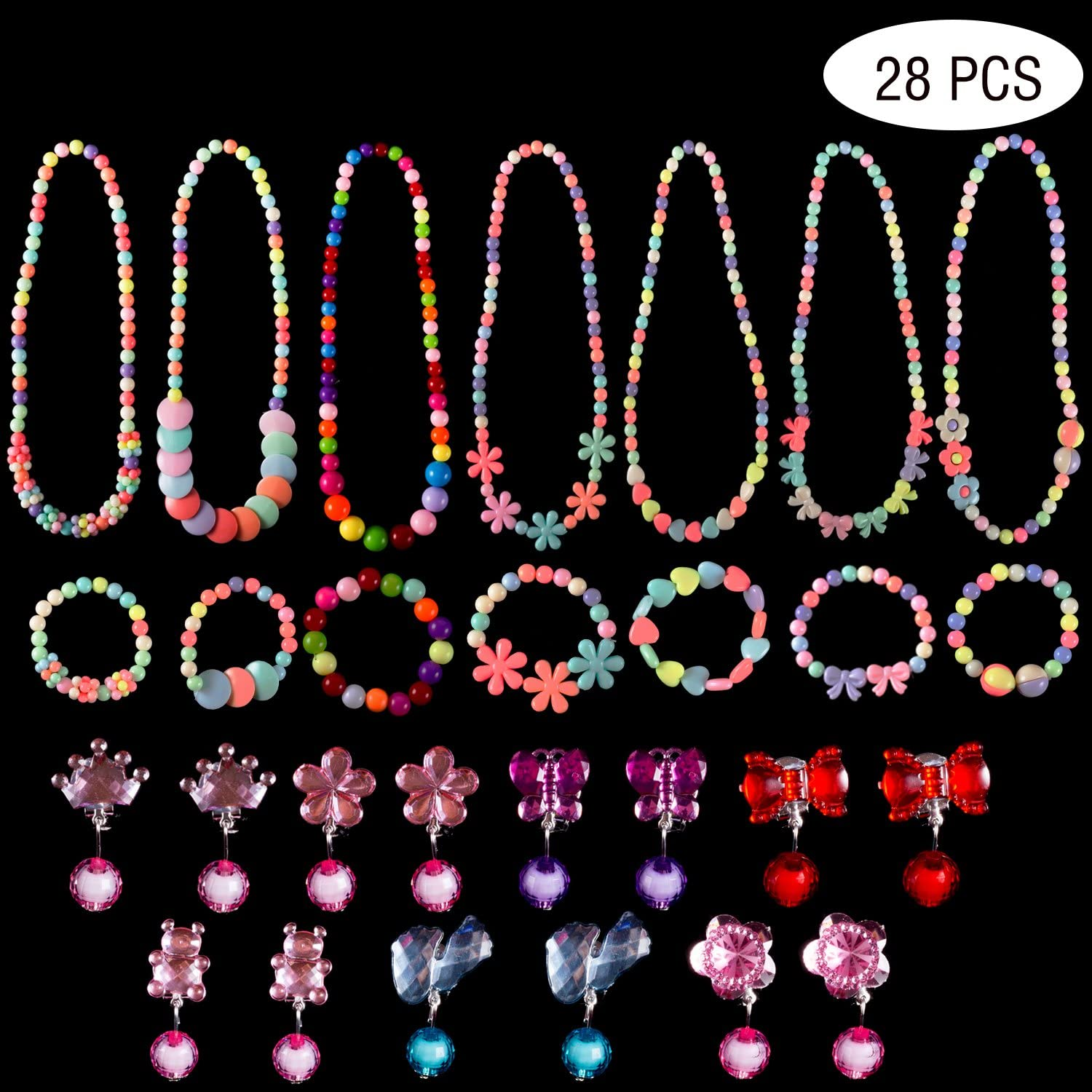 An image of princess jewelry set in various colors and designs.