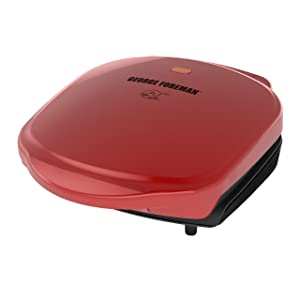 George Foreman 2-Serving Classic Plate Electric Indoor Grill and Panini Press, Red, GR10RM