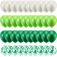40PCS 12 Inches St. Patrick's Day Latex Balloons Confetti Balloons Set - Green & White Balloons Helium Balloons for…