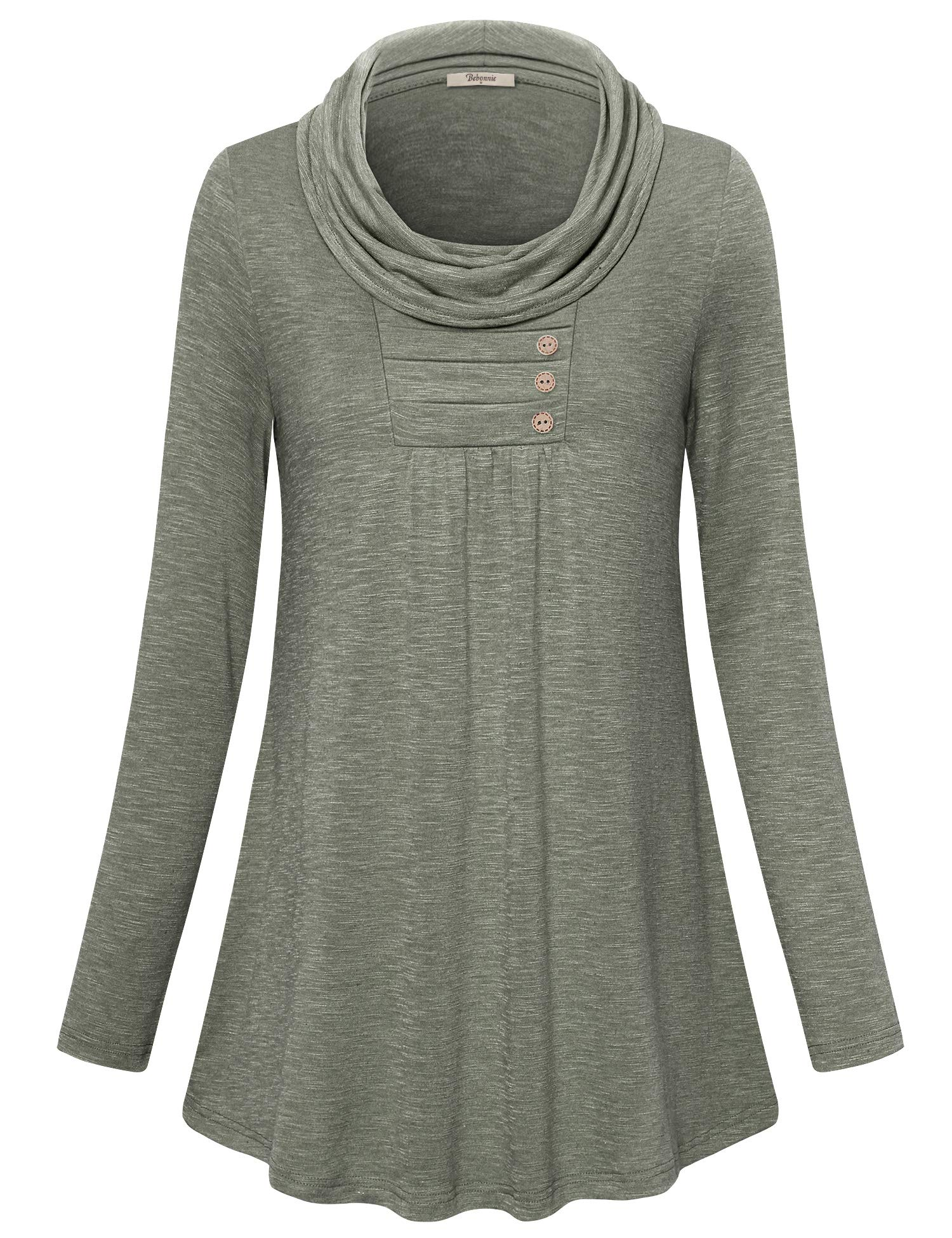 Bebonnie Tunic Tops for Leggings for Women,Knit Tops Stand Collar Stylish Modest Button Down Decor Slim Fit Flattering Flowy Shirt Army Green XX-Large