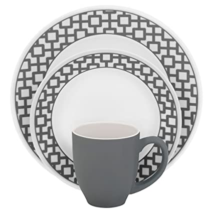 Amazon.com: Corelle Impressions 16-Piece Dinnerware Set, Urban Grid ...