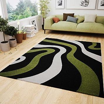 Trendy Wohnzimmer Teppich Modern Schwarz Grn Wellen Muster Frise Flauschig  Weich Geprft Von X Cm With Wohnzimmer Schwarz Grun
