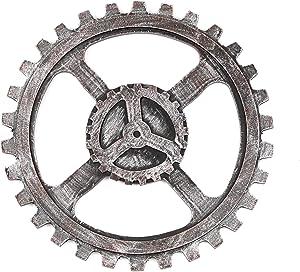GNSN Vintage Industrial Wooden Gear Rustic Wheel Steampunk Gear for Wall Decoration (12.6in / 32cm, Silver)