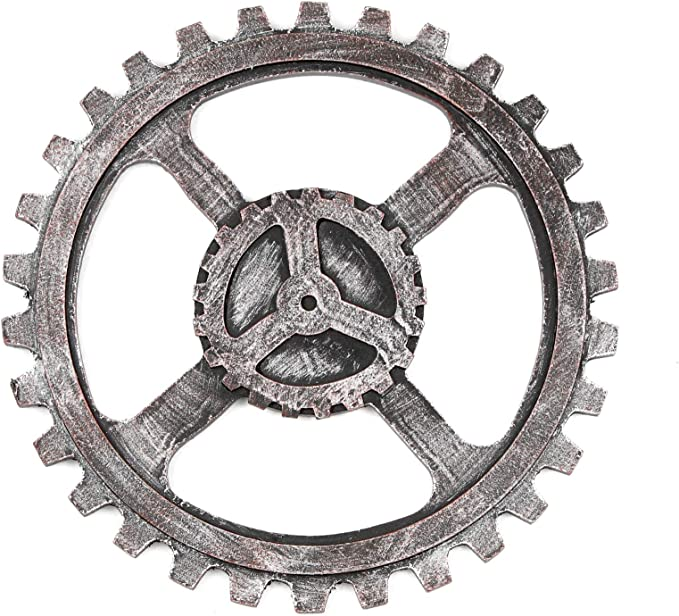 Industrial Wind Wooden Gear Ornaments for Club Bar Home Wall Decor 24cm Gold