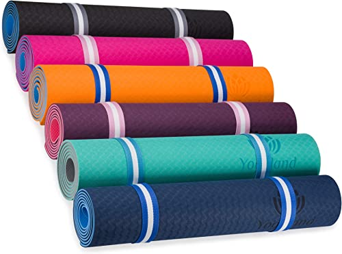 YOGALAND Premium Yoga Mat with Carrier Strap – Yoga Mat 6mm 1 4-Inch Thick Non-Slip Eco-Friendly Lightweight Extra Large 72 x 24 for Yoga Pilates Exercise Fitness