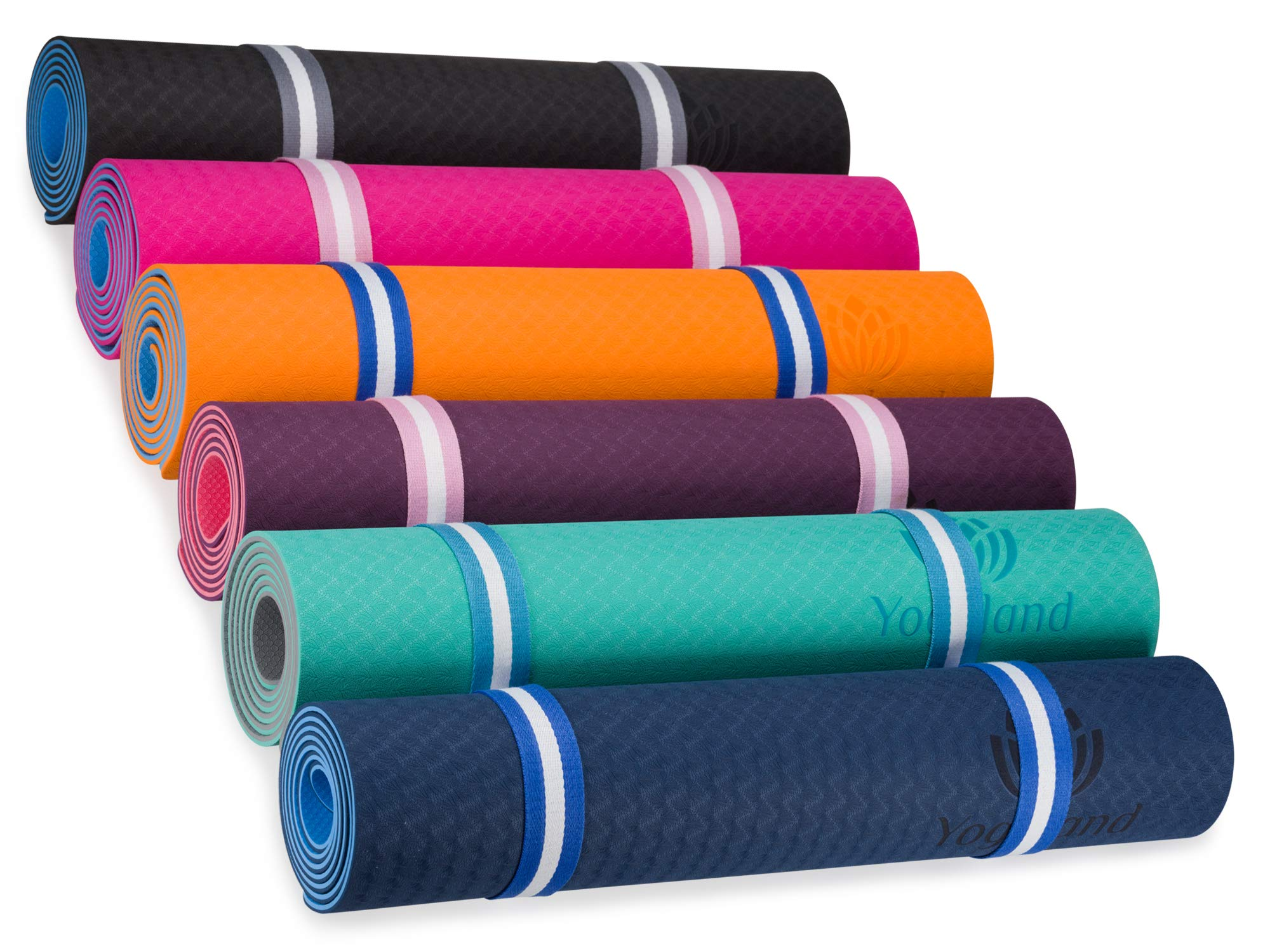 YOGALAND Premium Yoga Mat with Carrier Strap - Yoga Mat 6mm 1/4-Inch Thick, Non-Slip, Eco-Friendly Lightweight, Extra Large 72 x 24 for Yoga, Pilates, Exercise, Fitness (Dark Gray)