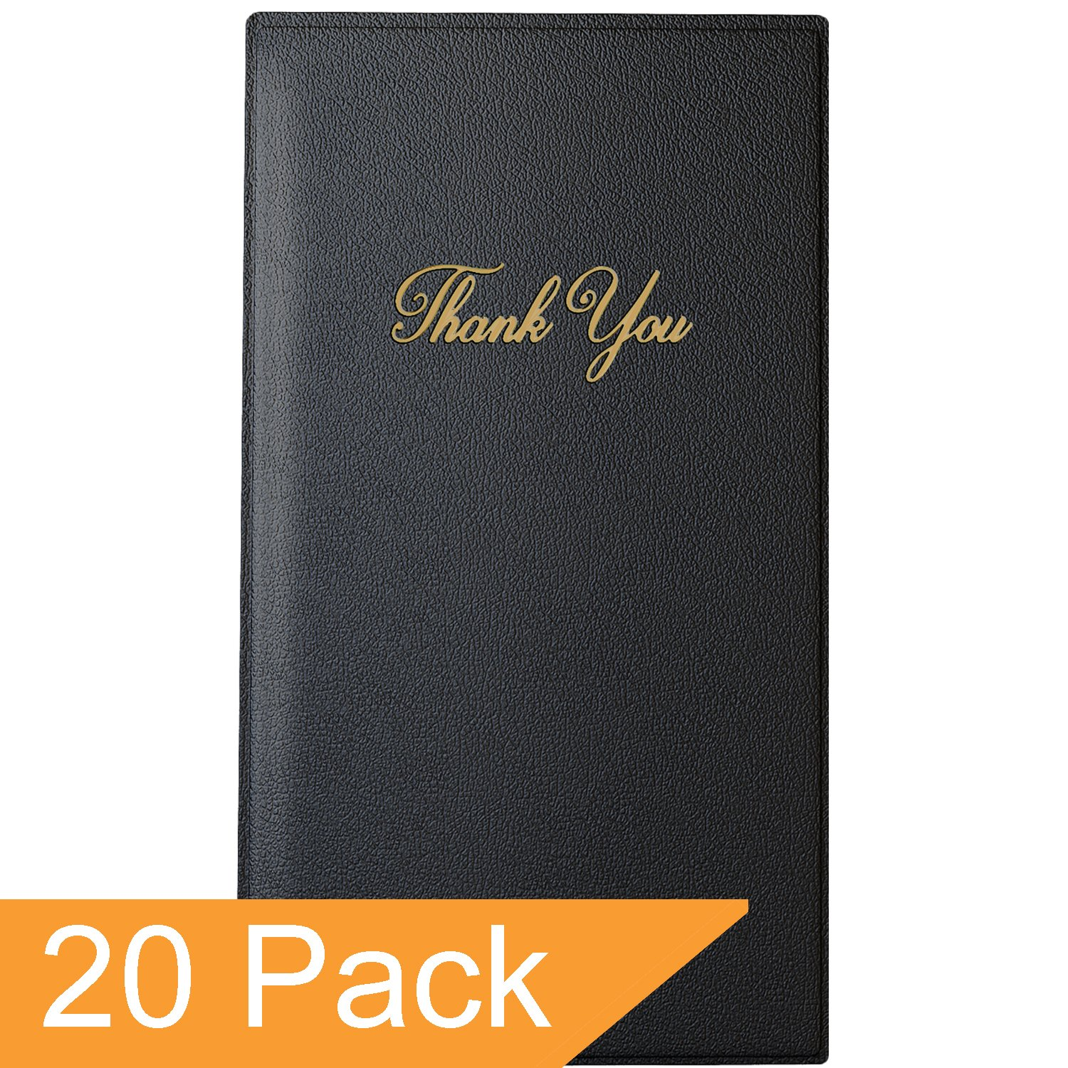 Guest Check Card Holder - Presenter with Gold Thank You Imprint - 5.5'' x 10'' (Standard, Black_20_Pack, 20) by Gold Lion Gear (Image #2)