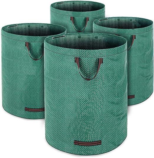 Deuba 4x Sacos de jardín resistentes capacidad de 280L carga máxima de 50 Kg anillo de sujeción 3 asas doble costura: Amazon.es: Jardín