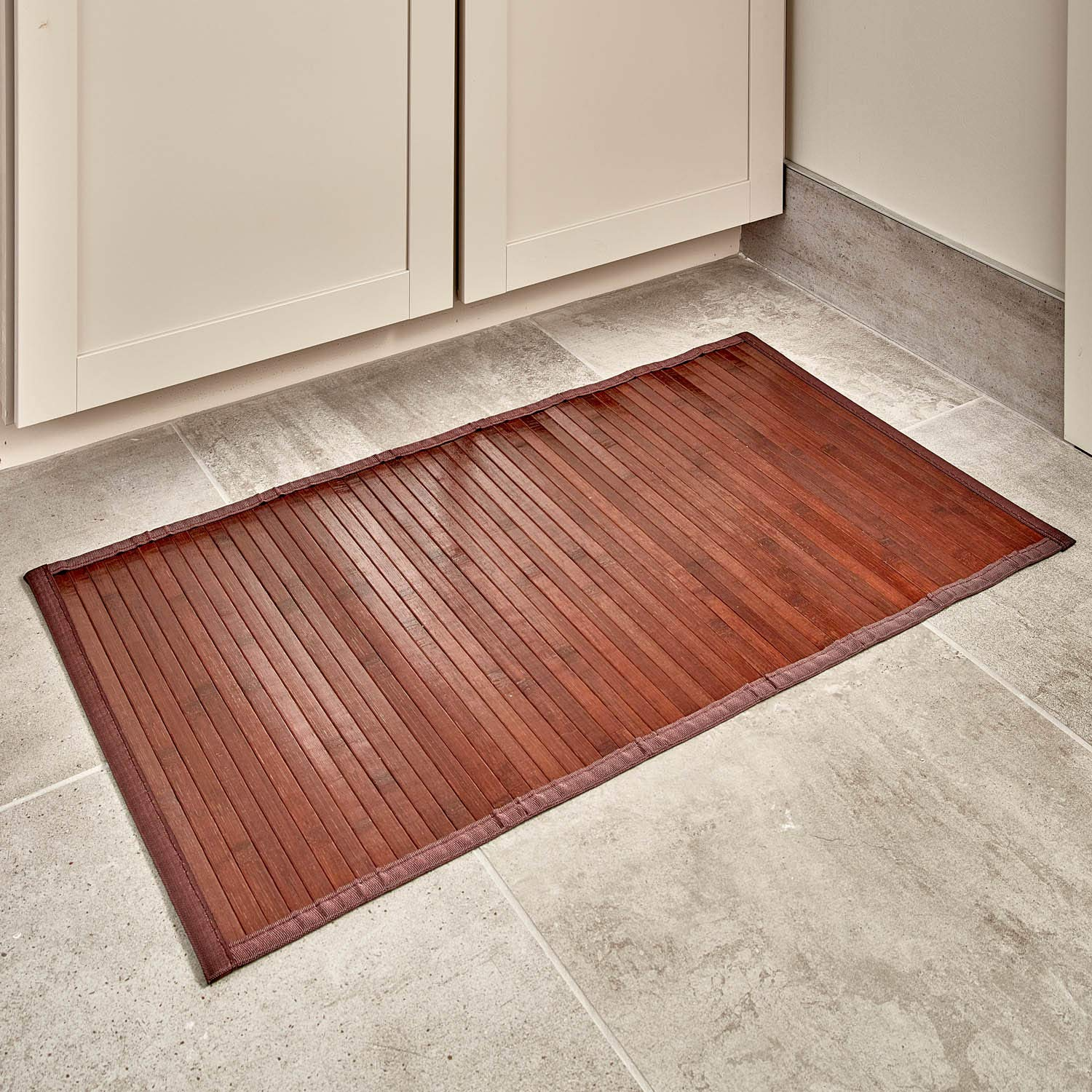 "iDesign Formbu Bamboo Floor Mat Non-Skid, Water-Resistant Runner Rug for Bathroom, Kitchen, Entryway, Hallway, Office, Mudroom, Vanity, 17"" x 24"", Mocha Brown"