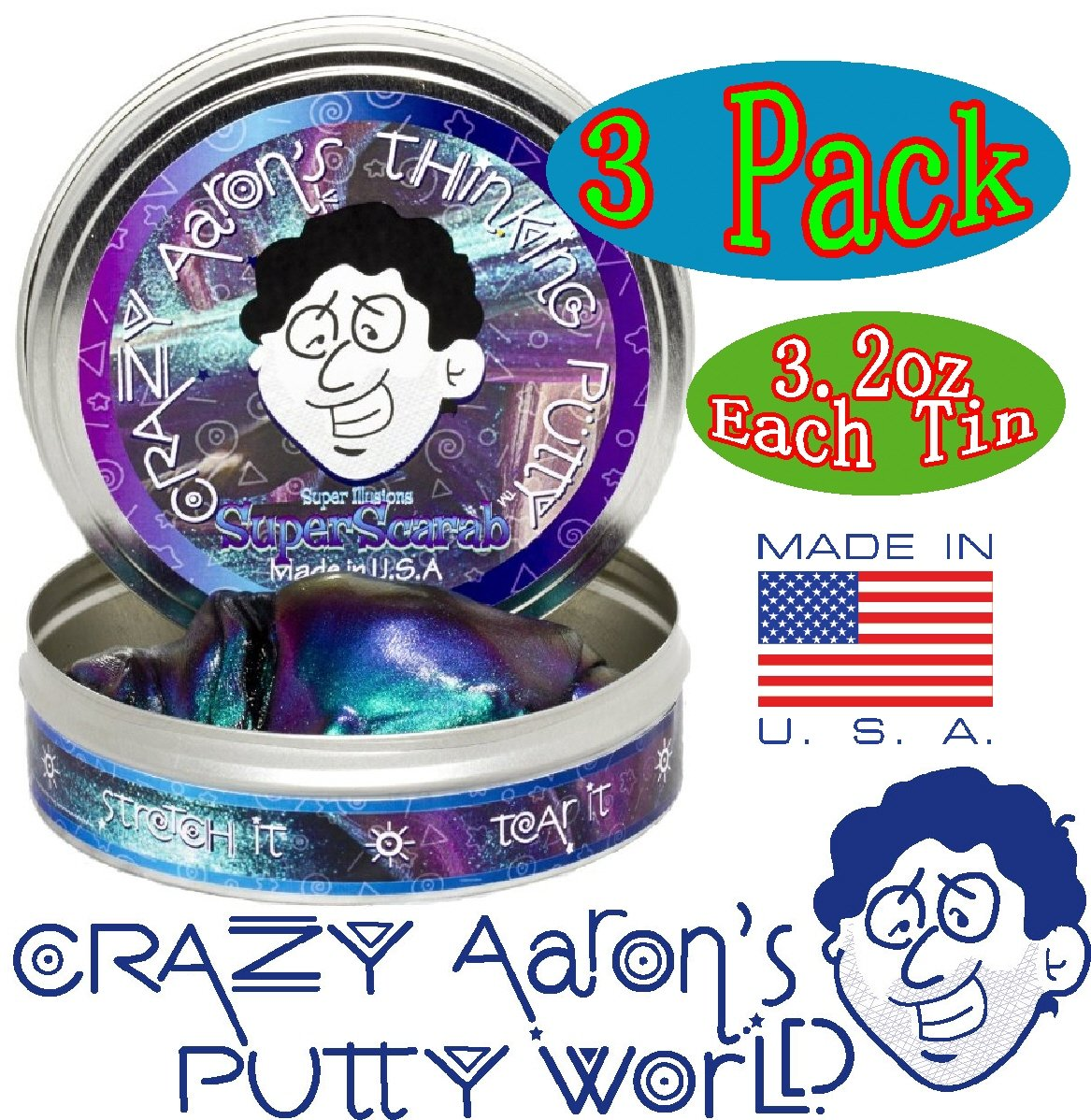 Crazy Aaron's Thinking Putty Super Illusions Super Scarab, Super Lava & Super Oil Slick Gift Set Bundle - 3 Pack by Crazy Aaron's (Image #2)
