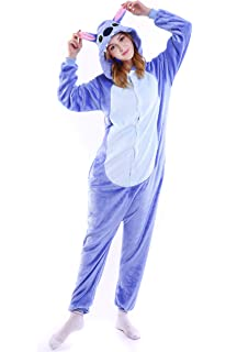 Grilong Halloween Stitch Onesie Costume Unisex-Adult Animals Stitch Pajamas