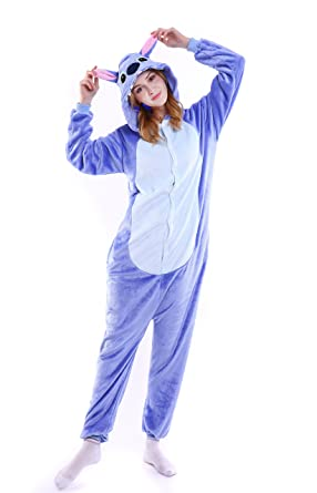 e375ce303a Grilong Stitch Onesie Costume Unisex Adult Animals Stitch Pajamas Cosplay  kigurumi Cute Sleepwear