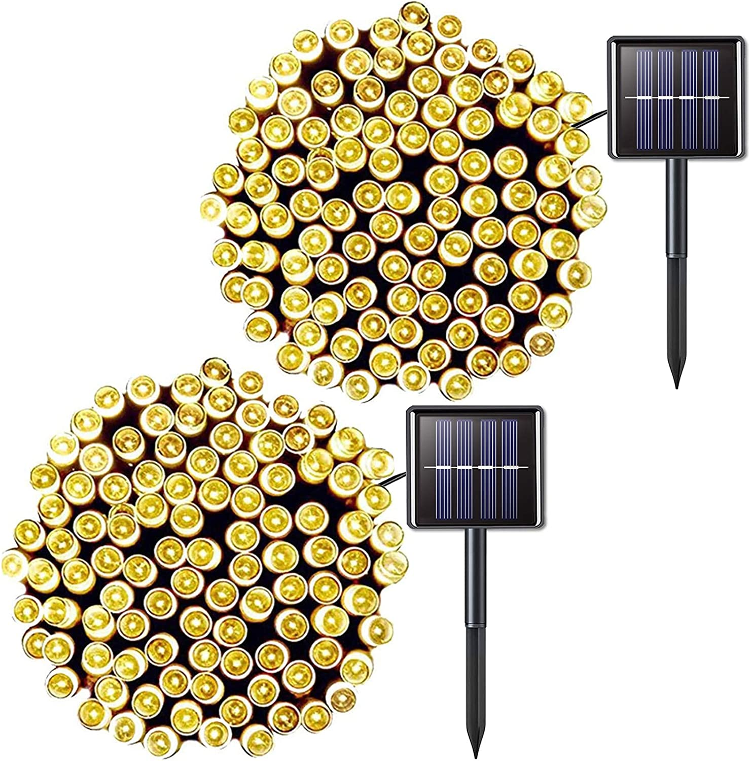 JMEXSUSS 2 Pack Solar String Light 200LED 75.5ft 8 Modes Solar Christmas Lights Waterproof for Gardens, Wedding, Party, Homes, Christmas Tree, Xmas, Curtains, Outdoors (200LED-Warm White-2Pack)
