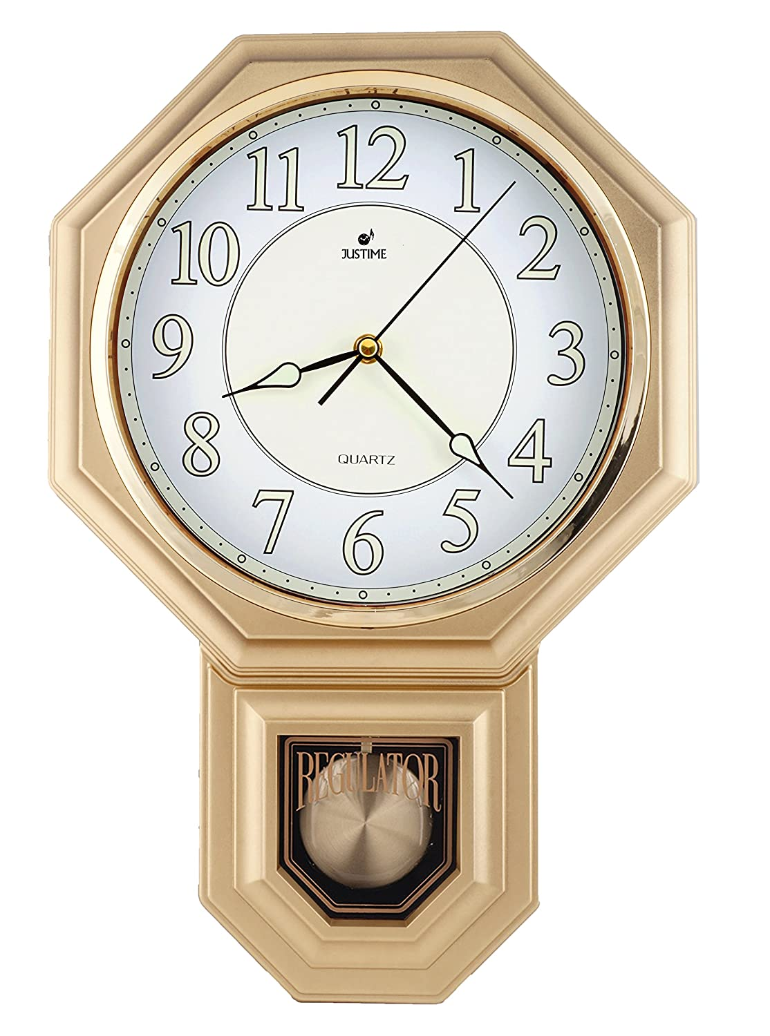 PP0258-L-LW Light Wood Grain JUSTIME Traditional Schoolhouse Pendulum Luminous Wall Clock Chimes Hourly with Westminster Melody Made in Taiwan