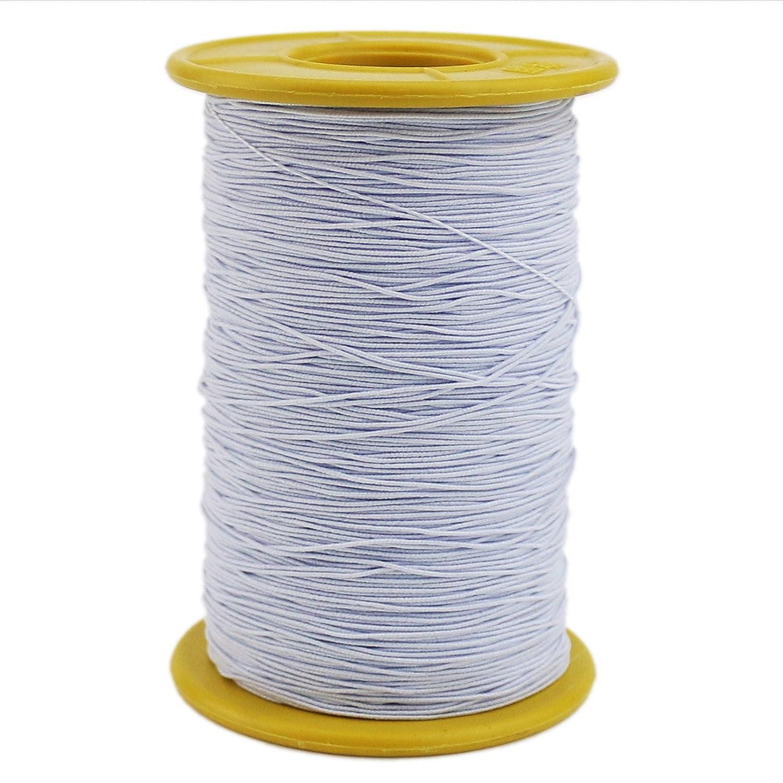 Ogrmar White Elastic Thread 547 Yard 0.5mm Thickness (1 Roll) (White) 4337000803