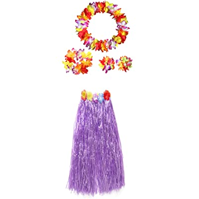 "Adults Hawaiian Hula Grass Skirts Dance Wears Set(Puple 31.5"",5pcs/Set): Clothing"