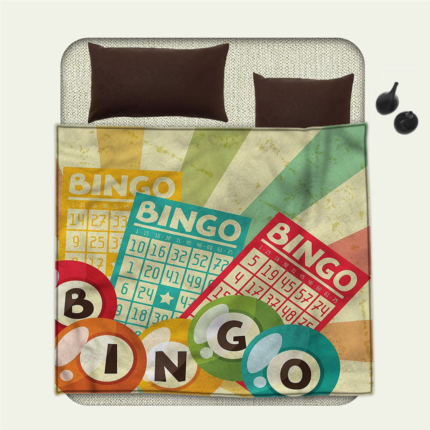 smallbeefly Vintage Flannel blanket Bingo Game with Ball and Cards Pop Art Stylized Lottery Hobby Celebration Themeblanket queen size Multicolor by smallbeefly