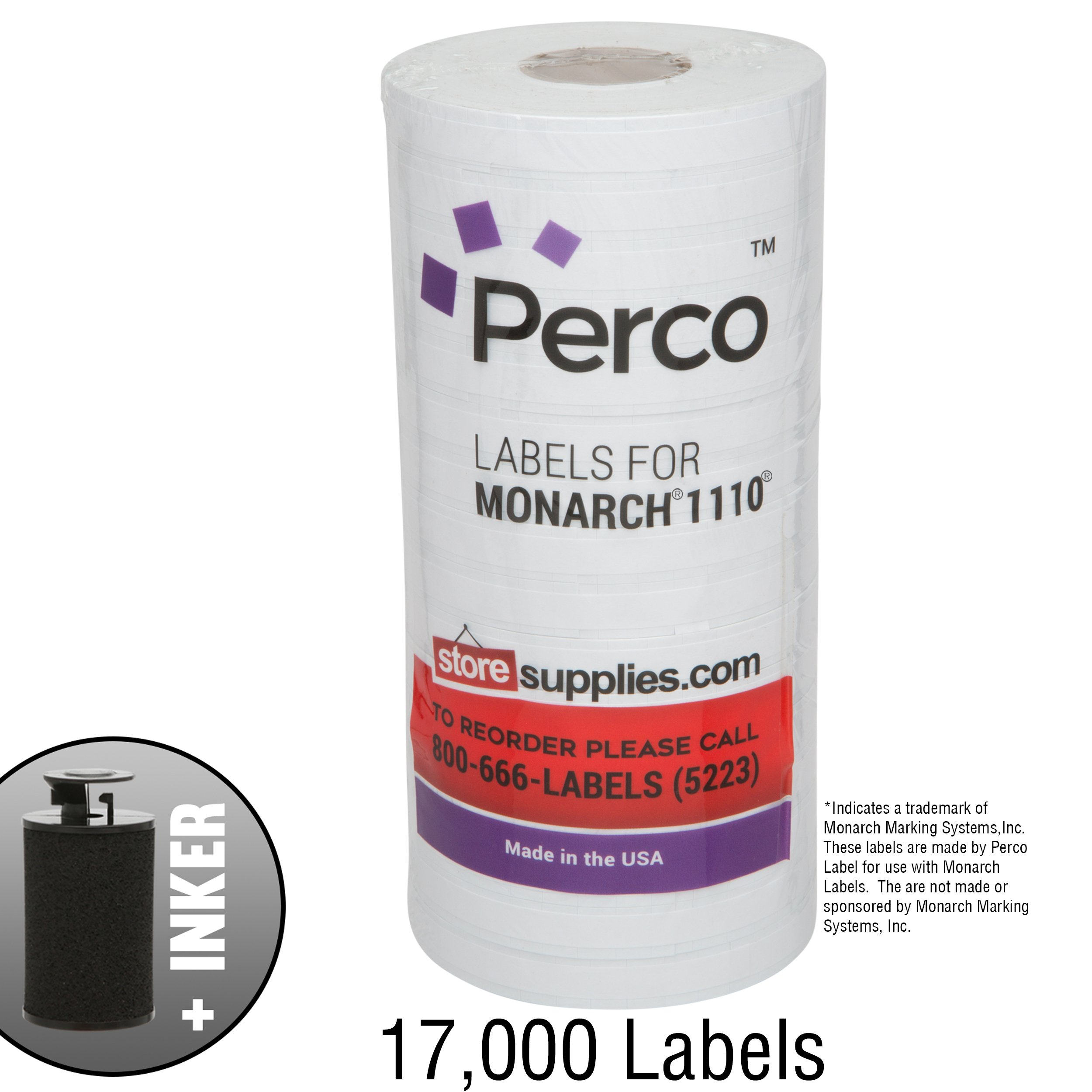 White Pricing Labels for Monarch 1110 Price Gun - Sixteen Rolls, 17,000 Pricemarking Labels - Bonus Ink Roll Included by Perco