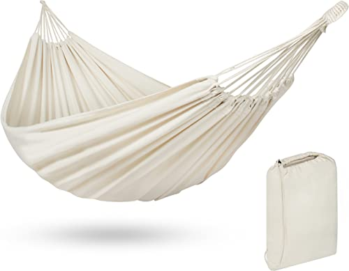 Best Choice Products 2-Person Brazilian Double Hammock Bed for Backyard, Patio, Indoor Outdoor Use w Carrying Bag, Cross-Woven Cotton Fabric – White