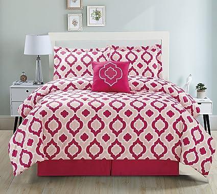 eacc89da8ef77 Amazon.com: 5 Piece Moroccan Pink Comforter Set King: Home & Kitchen