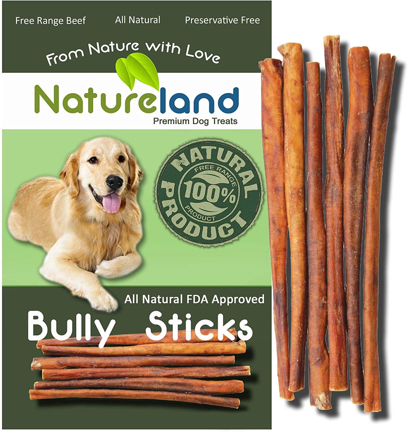 Natureland 6 Bully Sticks Thin – All-Natural, Free Range, Grass-Fed, 100 Beef Dog Chews