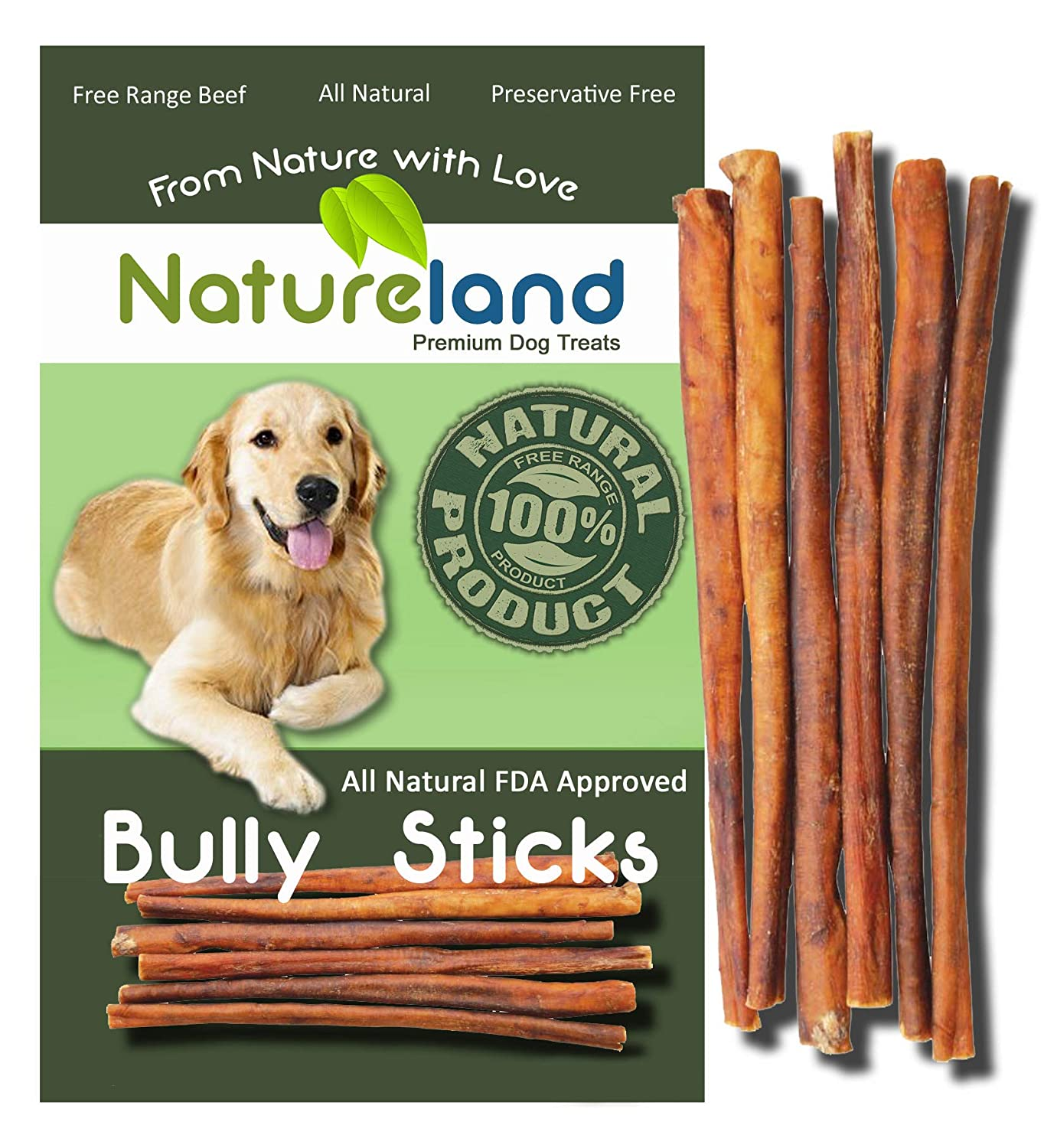 Natureland 6 Bully Sticks Standard Thickness – All-Natural, Free-Range, Grass-Fed, 100 Beef Dog Chews