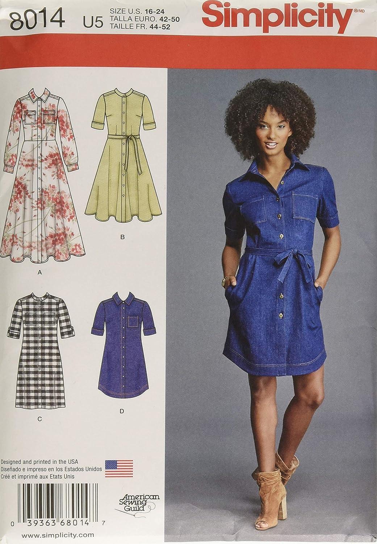 16-18-20-22-24 Simplicity Sewing Pattern 8014U5 Misses Shirt Dress White Paper U5