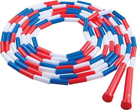 Champion Sports Classic 16/' Segmented Beaded Plastic Jump Rope Red//White//Blue