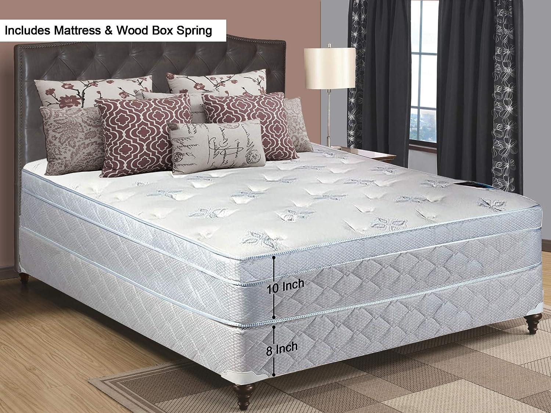 Full Size 74 x 53 11-Inch Medium plush Foam Encased Eurotop Pillowtop Innerspring Mattress And Wood Traditional Box Spring//Foundation Set Continental Sleep
