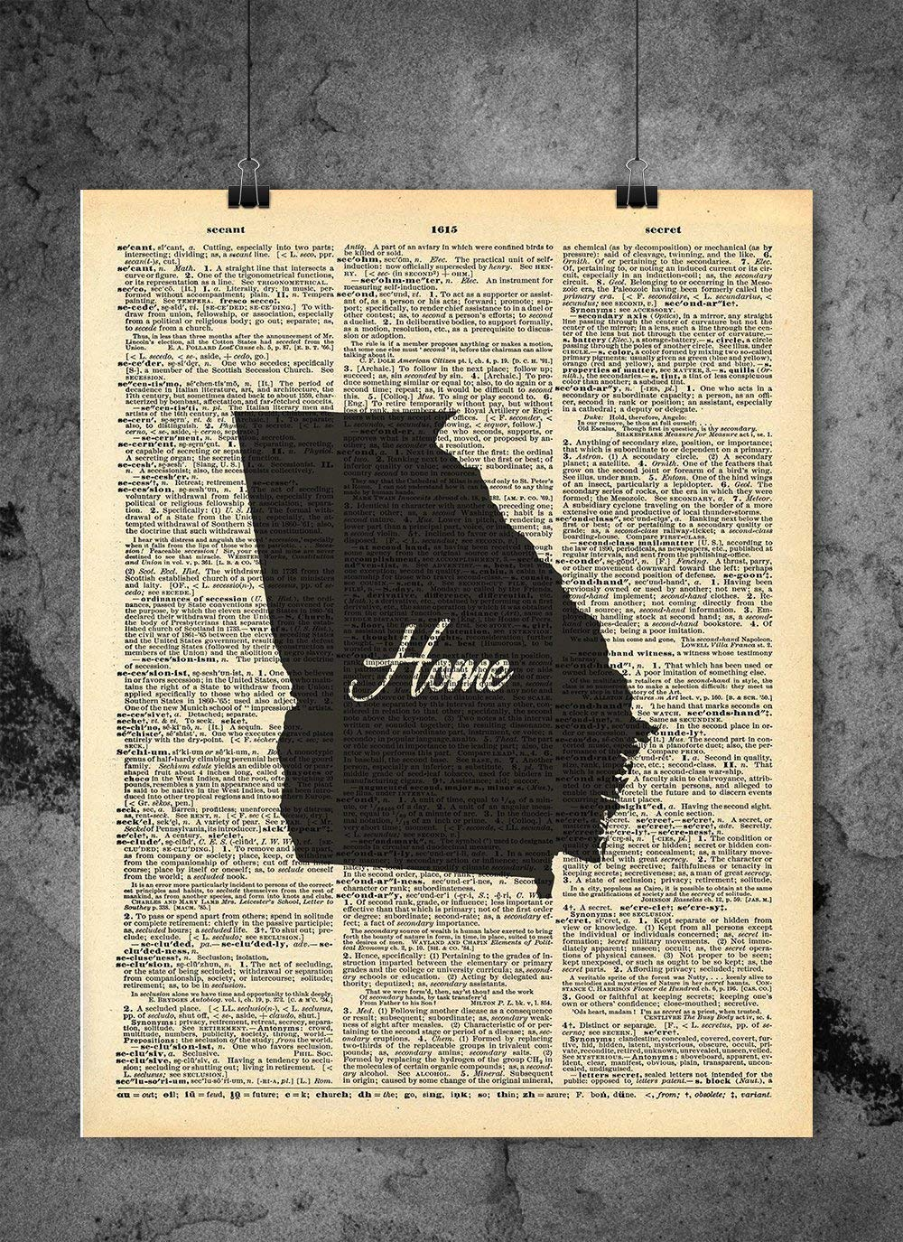 Georgia State Vintage Map Vintage Dictionary Print 8x10 inch Home Vintage Art Abstract Prints Wall Art for Home Decor Wall Decorations For Living Room Bedroom Office Ready-to-Frame Home
